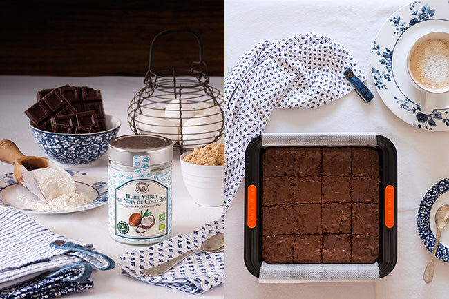 Receta de brownie de chocolate con coco