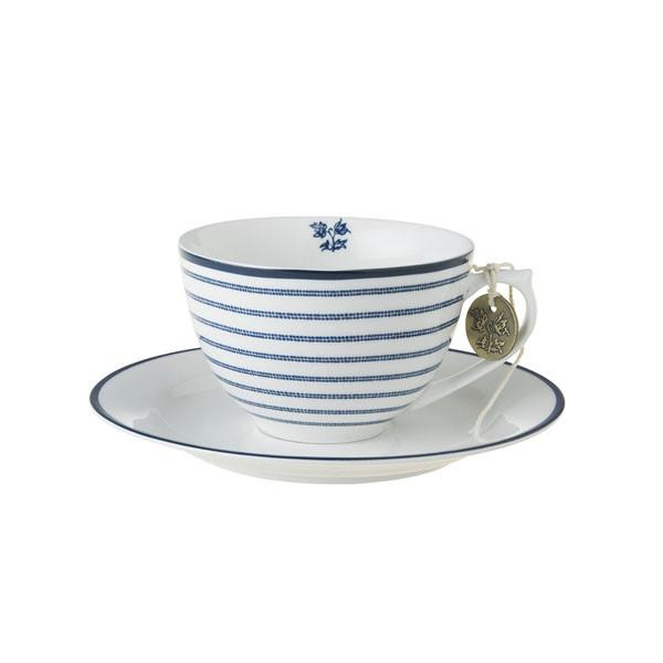 Taza para capuccino con plato de porcelana Laura Ashley Candy Stripe - Claudia&Julia