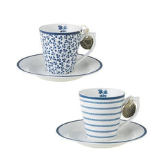 Taza espresso y plato de porcelana Laura Ashley