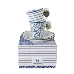 Set dos tazas espresso con plato Laura Ashley