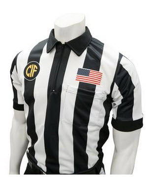"Shirts:  Smitty California CIF Logo 2 ¼""-Striped Dye-Sublimated Short Sleve Football Shirt (CA-214)"