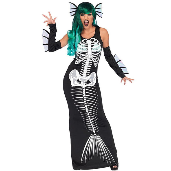 Ladies Halloween Scary Joker Fish Bone Costume Devil Mermaid Cosplay Long Sleeveless Dress Fancy Horror Outfit For Women