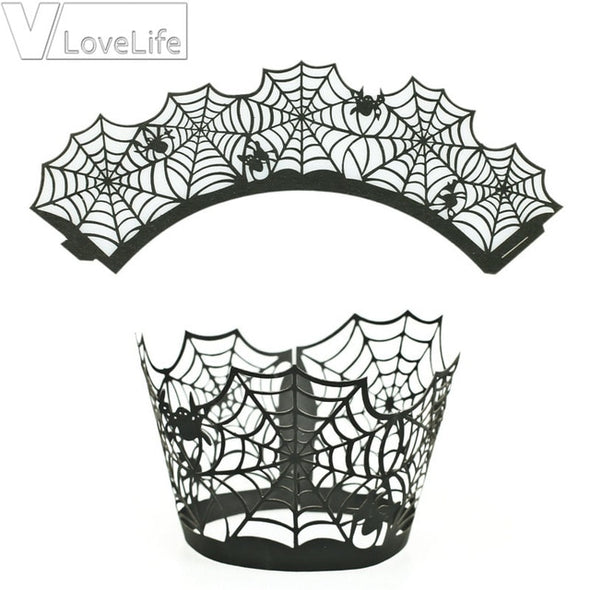 12PCS/Set Halloween Pumpkin cast lPattern Lace Laser Cut Cupcake Wrapper Liner Baking Cup Muffin For Wedding Birthday Party