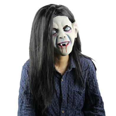 Halloween Horror Grimace Ghost ring Mask Scary Zombie Emulsion Skin with Hair  Black hair terror ring mask Terrorist mask