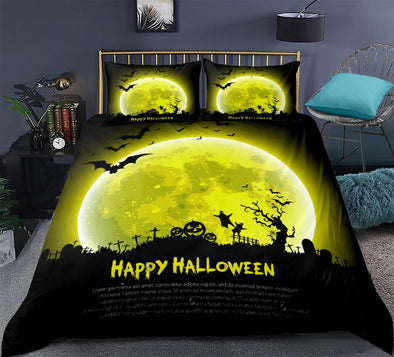 Halloween Bedding Sets Yellow moon terror background Duvet cover set Quilt Cover with Pillowcase Bed Sets Bedclothes 3pcs