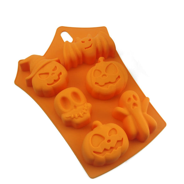 Halloween Holiday Pumpkin Cake Mold 6 Cavities Pumpkin Ghost Bat Shape Cake Mold Cookware Dining Fondant Cake Decorating Tools
