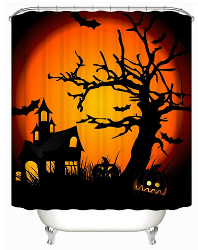 Dozzlor Halloween Bathroom Decoration Shower Curtain Waterproof Polyester Fabric Curtains Scary Night Pumpkin Shower Curtain