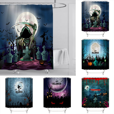 Halloween Waterproof Bath Curtains Polyester Bathroom Curtain Home Decor Scary Grave Pumpkin Ghost Shower Curtain