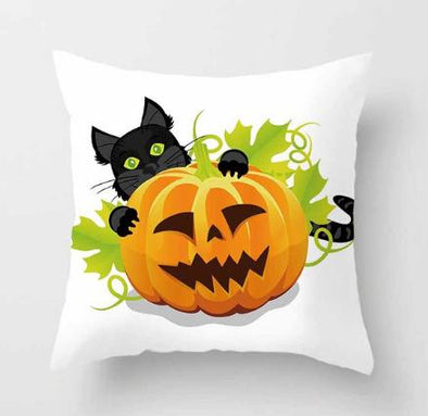 45*45cm Dozzlor Halloween  Soft Pumpkin Cushion Case Lantern Painting Pillow Case Velvet Sofa Seat Car Pillow Cover Home Decor