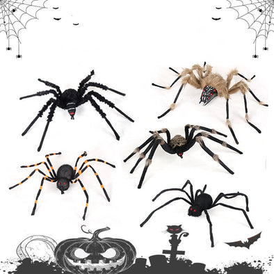 1PC Halloween Prop Horror Black Colorful Spider And  Plush Tricky Toys For Bar Ornament For Party Event Festival Decoration