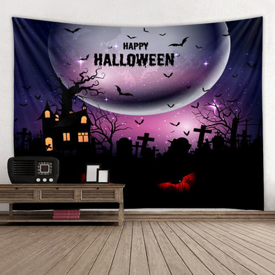 Halloween Printed Tapestry Home Decor Pumpkin Tarot Tapestry Wall Hanging Ghost Crow Hippie Hanging Decoration Accessories