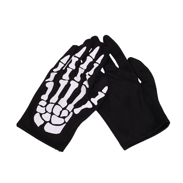 1 Pair Halloween Bone Gloves Prop Luminous Prop Black + White Skeleton Skeleton Scary Cosplay Waterproof Horrible Trick Party