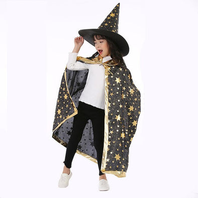Red pink green black purple Halloween kid children party cosplay witch capes sorceress cloak cape costumes hat for boys girls