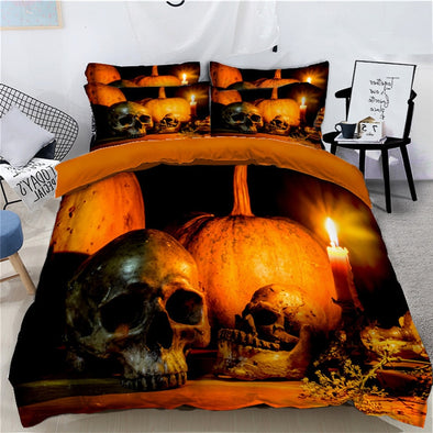 Halloween Bedding Set for Kids adults 4Pcs Funny Gift 3D Duvet Cover Set Pumpkin Decor Bed Linens Set Twin Queen super King Size