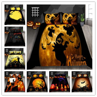 3D Ghost / Witch / Pumpkin Printed Halloween Nightmare Bedding Sets 2/3Pcs/Set Duvet Cover Set 2019 Bed