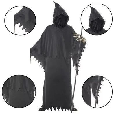 Adult Men Halloween Hooded Gown Skeleton Grim Reaper Ghost Costume Joker Catsuit Black Evil Death Scary Cosplay Horror Outfit