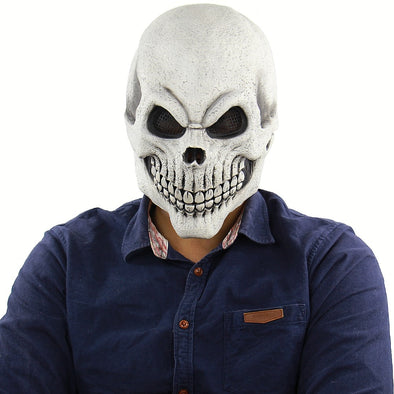 Halloween Scary Mask Costume for Men Women Kids Deluxe Overhead Mask White Mask Morris Studios Men's Death Skull Bones Full Mask
