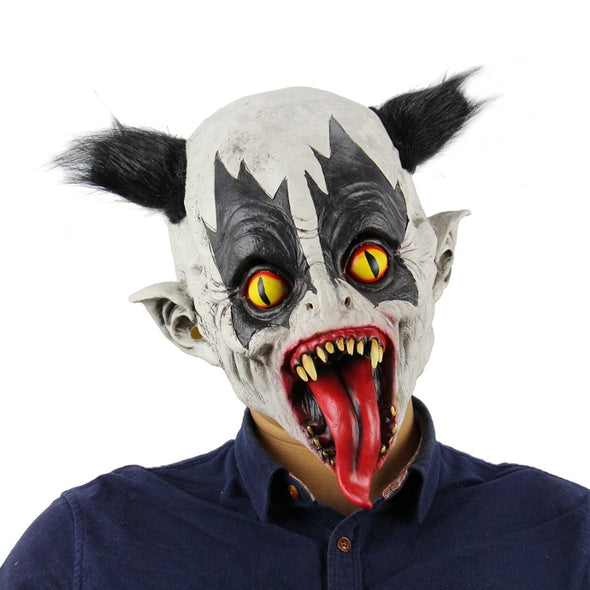 Halloween Latex Clown Mask With Hair Costume Party Props Masks Batman Mask Horrific Demon Scary Devil Flame Zombie Bat Mask
