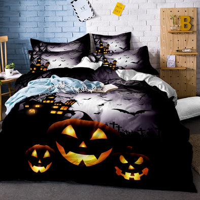 3D Black Skull Bedding Set Halloween Style Bed Sheet Queen King Double Bed Linen Cotton Blend Flower Skull Duvet Cover Set