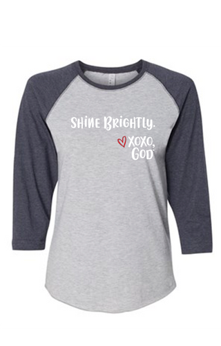 Women's Raglan Sleeve Baseball Tee - Shine Brightly.