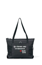 Load image into Gallery viewer, Zippered Tote Bag - Be Strong and Courageous.