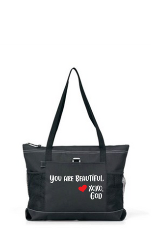 Zippered Tote Bag - You Are Beautiful.