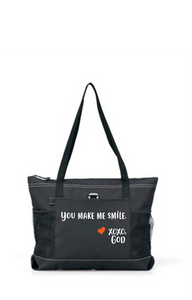 Zippered Tote Bag - You Make Me Smile.