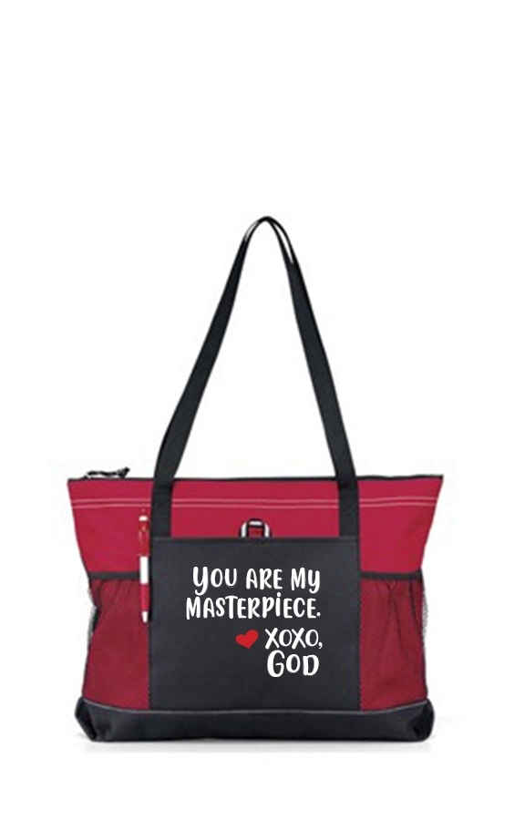 Zippered Tote Bag - You Are My Masterpiece.