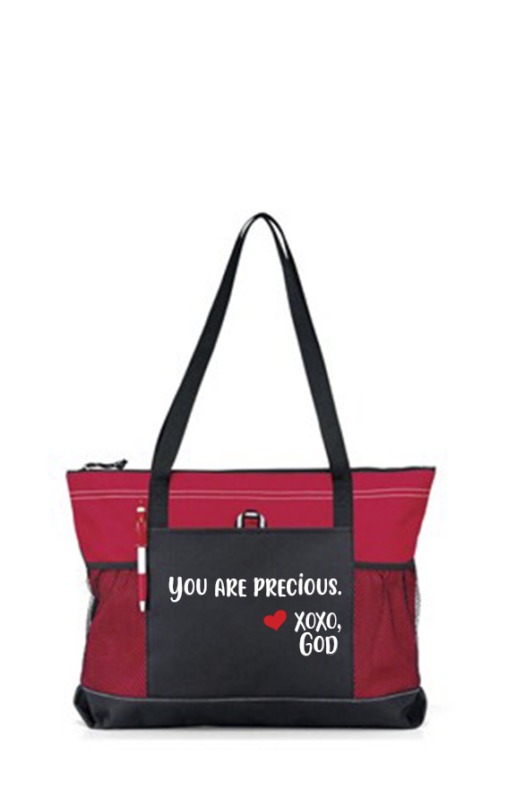 Zippered Tote Bag - You Are Precious.