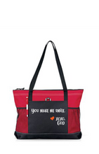 Load image into Gallery viewer, Zippered Tote Bag - You Make Me Smile.