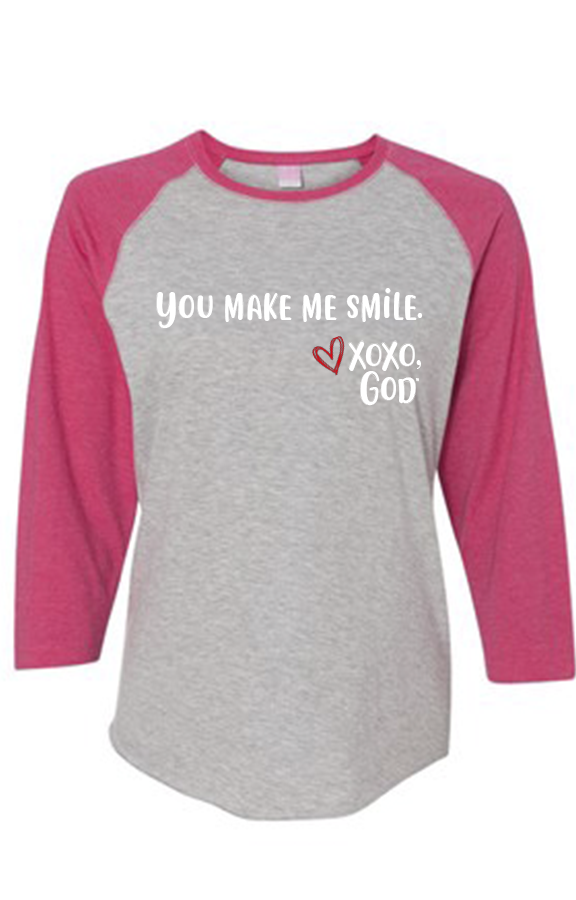Women's Raglan Sleeve Baseball Tee - You make me smile.