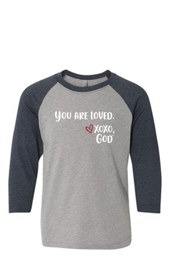 Youth Raglan Sleeve Baseball Tee - You are loved.