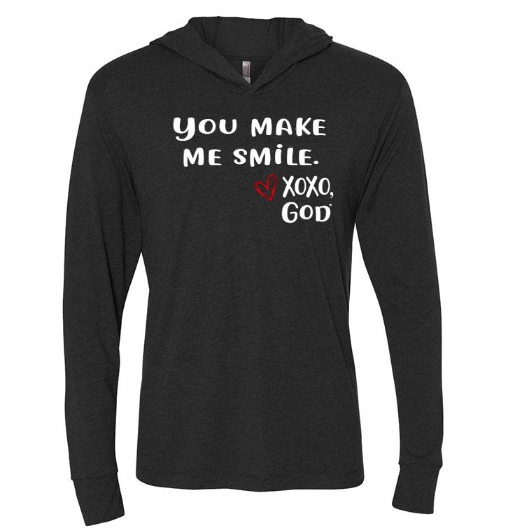Lightweight Tri-blend Unisex Hoodie -You make me smile.