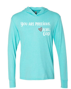 Lightweight Tri-blend Unisex Hoodie -You are precious.