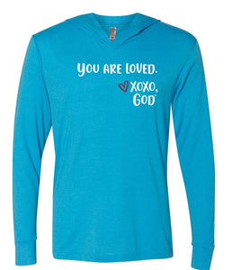 Lightweight Tri-blend Unisex Hoodie -You are loved.