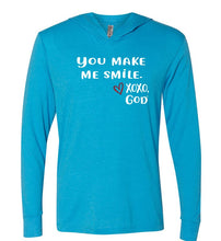 Load image into Gallery viewer, Lightweight Tri-blend Unisex Hoodie -You make me smile.