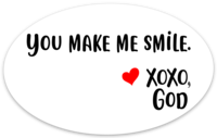 Oval Sticker - You Make Me Smile.