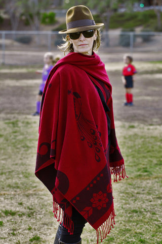 Burgundy Red Women's Ruana Wrap Poncho