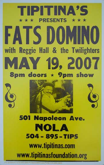Fats Domino, May 19, 2007 at Tipitina's Poster