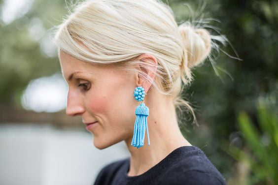 Lisi Lerch Tassel Earrings in Turquoise - Hattan Home - 4