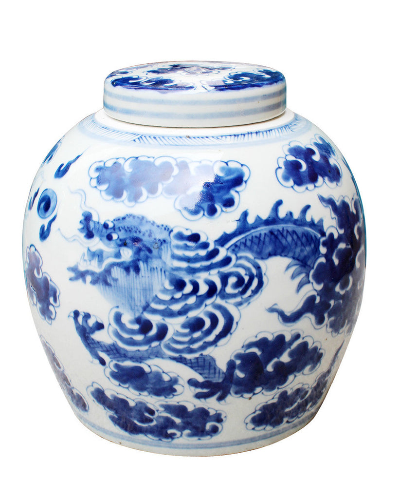 Blue + White Dragon Cloud Ancestor Jar - Hattan Home - 1