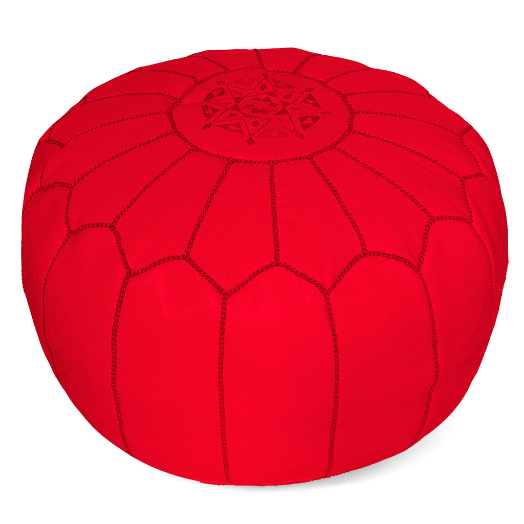 Moroccan Pouf in Bright Poppy Red - Hattan Home - 2