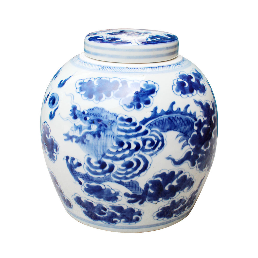 Blue + White Dragon Cloud Ancestor Jar - Hattan Home - 2