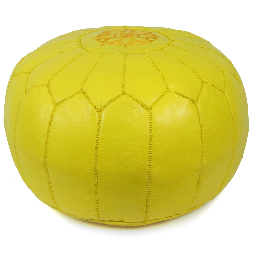 Moroccan Pouf in Yellow - Hattan Home - 2