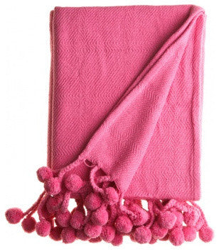 Pom Pom Throw in Hot Pink - Hattan Home - 2