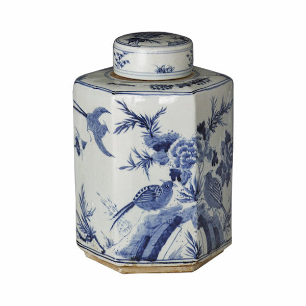 Blue & White Hexagonal Tea Jar - Hattan Home - 3