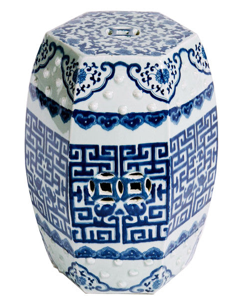Blue & White Hexagonal Garden Stool - Hattan Home - 1