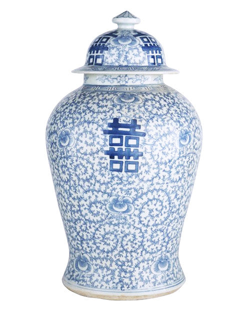 Blue & White Double Happiness Floral Temple Jar - Hattan Home - 1