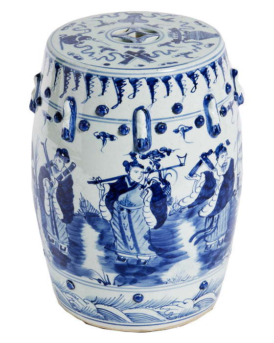 Blue & White 8 Immortals Garden Stool - Hattan Home - 1