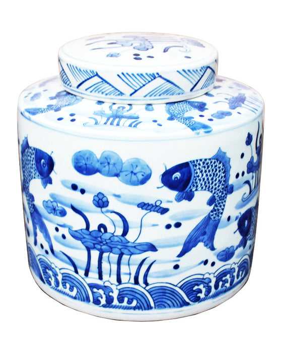 Blue & White Fish Cylinder Tea Jar